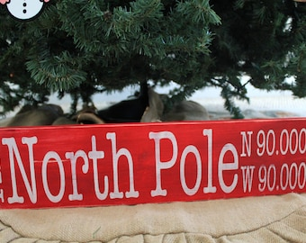North Pole Vintage Farmhouse Style Hand Painted Christmas Sign