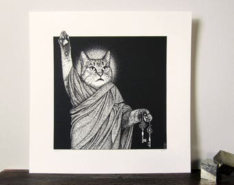 Mystic Cat Limited Edition Fine Art Print | Hand-Pulled Silkscreen Print | Signed & Numbered Screen Print | 100% Recycled Paper | S.C.Gee