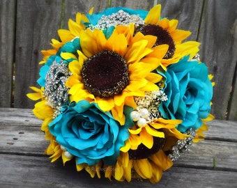 Turquoise Sunflower Bouquet, Rustic Bouquet, Sunflower Bouquet, Bridal Bouquet