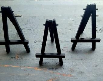 15 mini easels, mini black wood easels, ACEO easel, mini art easel, small black easel, CLEARANCE