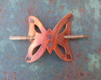 Butterfly Barrette with hand rubbed finish and teal diamonds
