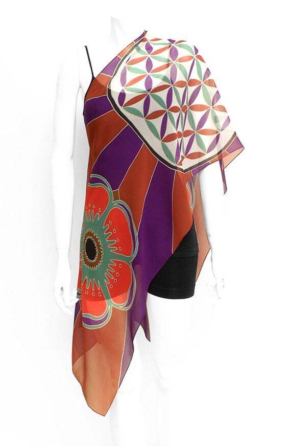 Flower of life mandala sacred geometry hand painted silk scarf