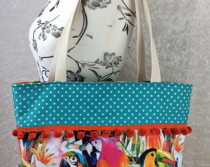 Handmade Beach tote shoulder bag Pom Pom shopping day bag purse fabric shopper Tropical Jungle Birds Parrots Toucans Macaws