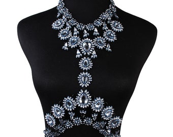 LUXE - CRYSTAL BODY Chain Harness Jewellery for wearing with bikini - 5 colours
