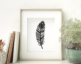 Feather Print, Black Feather Print, Feather Printable, Black and White, Tribal Print, Feather Wall Art, Feather Wall Print, Printable,