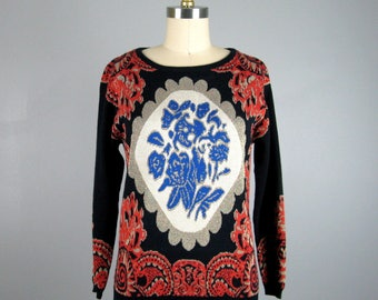 Vintage 1960s Sweater 60s Colorful Damask Knit Sweater Size S/M