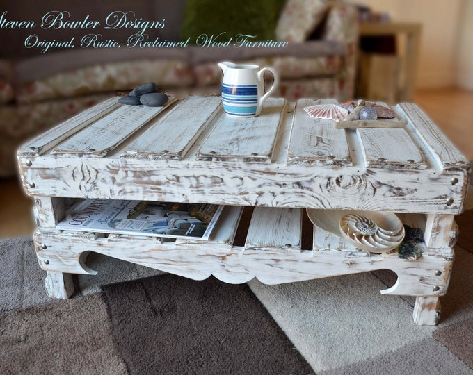 White Nautical Reclaimed Wood Coffee Table in Coastal Driftwood Style Finish with Undershelf Storage & Matt Silver Tacks
