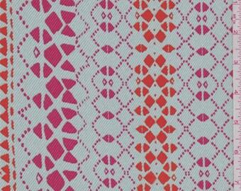Aqua Mist Geometric Stripe Crepe de Chine, Fabric By The Yard