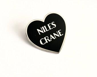 """Niles Crane Black Silver Heart Pin // Frasier TV inspired // 1.25"""" hard enamel lapel pin"""