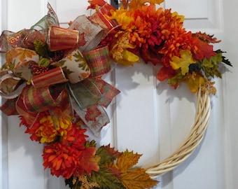 Fall Wreath, Fall Wood Wreath, Fall Colors Wreath, Autumn Wreath, Autumn Decor, Thanksgiving Wreath, Mum Wreath, Orange Wreath, Fall Leaves