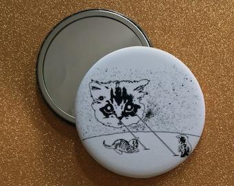 2.25 Inch Round Mirror - Laser Cat, Space Cat, Laser Beam Space Cat, Cat Gifts, Round Mirror, Pocket Mirror, Compact Mirror, Hand Mirror