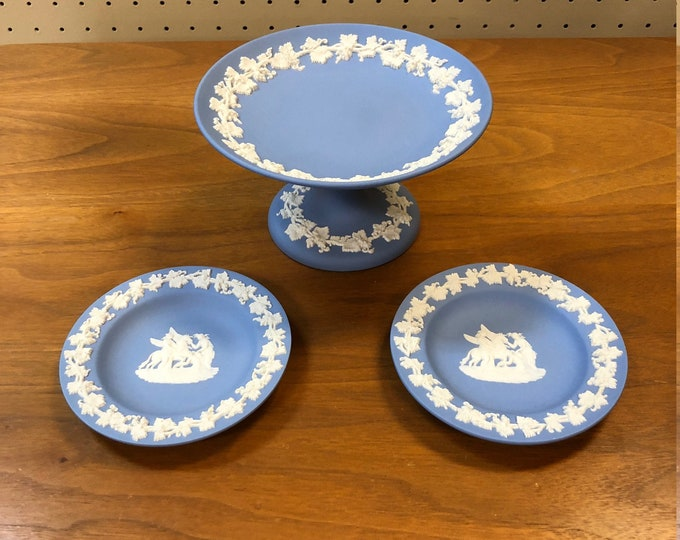 Vintage Wedgwood Blue Jasperware Compote & Decorative Plates