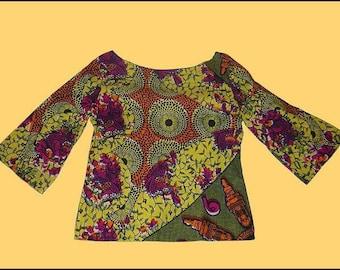 3/4 sleeve tunic African wax cotton