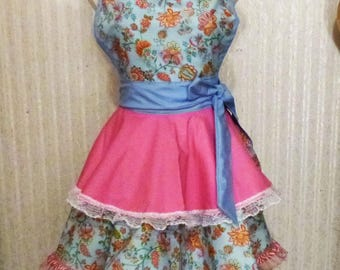 Florals on Blue with Pink Sweetheart Full Flared Double Skirt Apron, Valentines Day Apron, Gift for Mom, Handmade, Made in the USA, #50