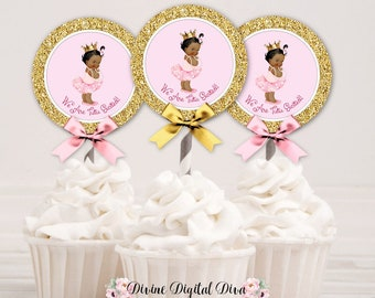 Cupcake Topper Tutu Excited Princess Ballerina Pink & Gold Crown | African American Little Princess | Digital Instant Download