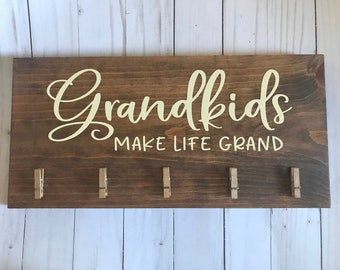 Grandkids Make Life Grand Wood Sign Custom Wood Sign Wood Plaque Home Decor Bedroom Wall Sign Housewarming gift Wall Sign