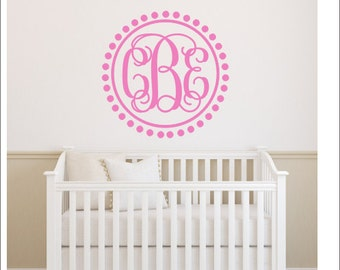 Vine Monogram Decal Wall Decal Circle Border Preppy Monogram - Monogram wall decals for nursery