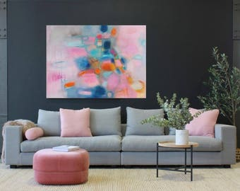 """XL Abstract painting, Pink acrylic canvas, blush turquoise art, large 48""""x36"""" original abstract, Turquoise and Pink art, Modern abstract art"""