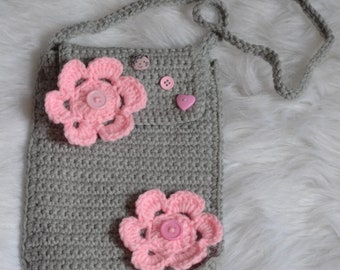 Girls Crochet Purse! Gray with Pink Flowers!