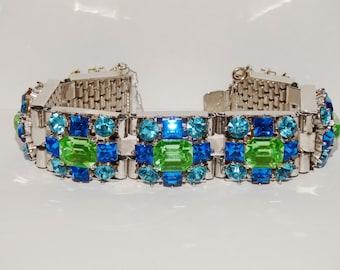 "Vintage Beautifull Green/Blue Rhinestone 8"" Bracelet."