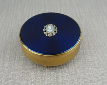 1960's Round Metal Trinket Box with Blue and White Lady Cameo Top