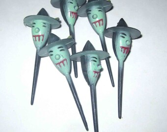 Vintage Black and Green Witch Halloween Novelty Cupcake Picks or Toppers Set of 6