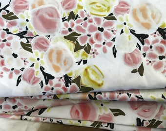 Rose Quartz & Ochre Spring Floral Upholstery Fabric by the Yard Organic Cotton Sateen or Linen Blend Pink and Yellow