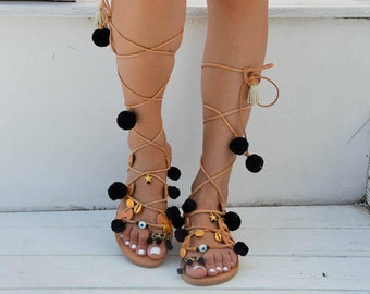 Bohemian Sandals, Leather Sandals, Boho Sandals, Pom Pom Sandals, Lace Up Sandals, Tie Up Sandals, Made In Greece From Genuine Leather.