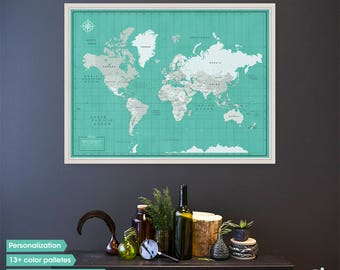 World map wall art / World Map Push Pin / Pin world map / gifts for travelers / Travel Gift