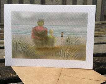 greetings card: 'The Watchers on the Beach', sea swimmer, on the Norfolk coast. Open water swimming