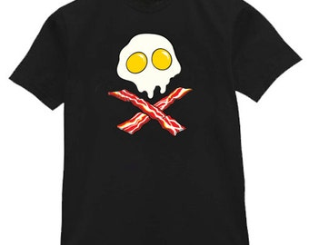 Mens T-shirt / Bacon & Eggs skull face