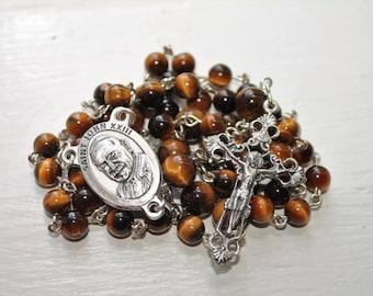 Catholic Pope St. John XXIII Rosary with Tiger Eye--Pro Life Catholic Rosary--St, John XXIII Handmade--Semi-Precious Rosary