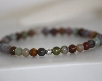 4mm INDIA AGATE Gemstone and .925 Sterling Silver Bead Stretch Bracelet