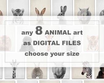 Baby animal download, Printable animals for nursery, Choose any 8 ANIMALS from my charts, woodland animals download, farm animals download
