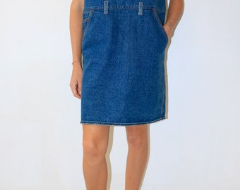 vintage blue denim smock dress