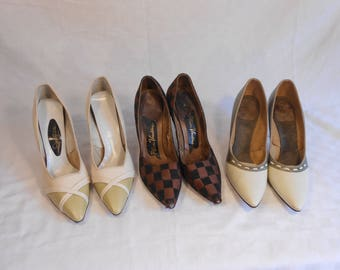 Three Stiletto Shoe Lot #3 - Vintage 1950s Lot of 3 Shoes High Heels Sage Ivory Brown Black Check