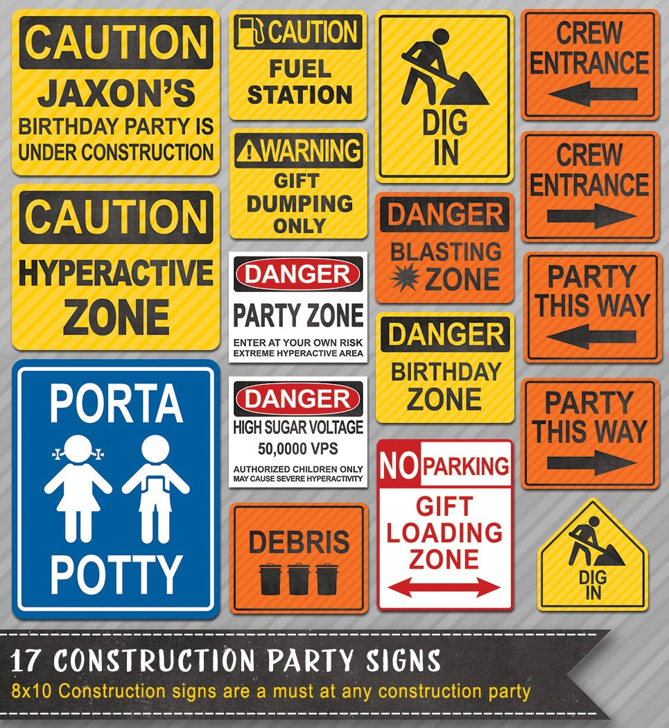 Construction Party Signs Construction Signs Construction