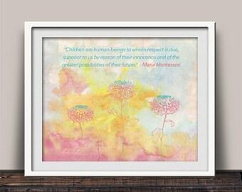 Montessori Gift, Montessori Quote, Giclee Print, Montessori Teacher, Homeschool Decor, Montessori Child, Watercolor Print, Education Quotes