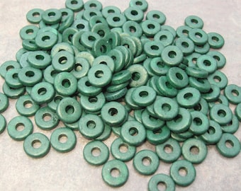 TEAL GREEN 8mm Mykonos Greek Ceramic Round Washer - Disks - 25