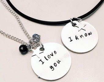 I Love You I Know Han Solo Princess Leia Star Wars Adjustable Bangle Charm Bracelet or Necklace Duo (Can Mix/Match)