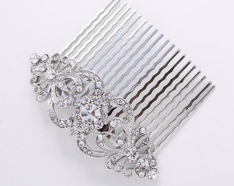 Bridal Hair Accessory, Bridal Comb, Rhinestone Hair Piece, Wedding Hair Jewelry, Crystal Silver Hair Comb, Gatsby Old Hollywood, Headpiece