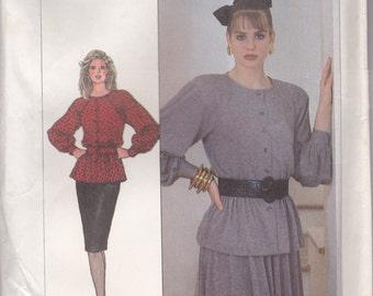 80s Blouse & Skirt Pattern Simplicity 8286 Sizes 14 - 20 Uncut
