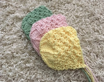 Newborn size knit round back bonnet,spring colours,photo prop,gift idea,coming home,ready to ship