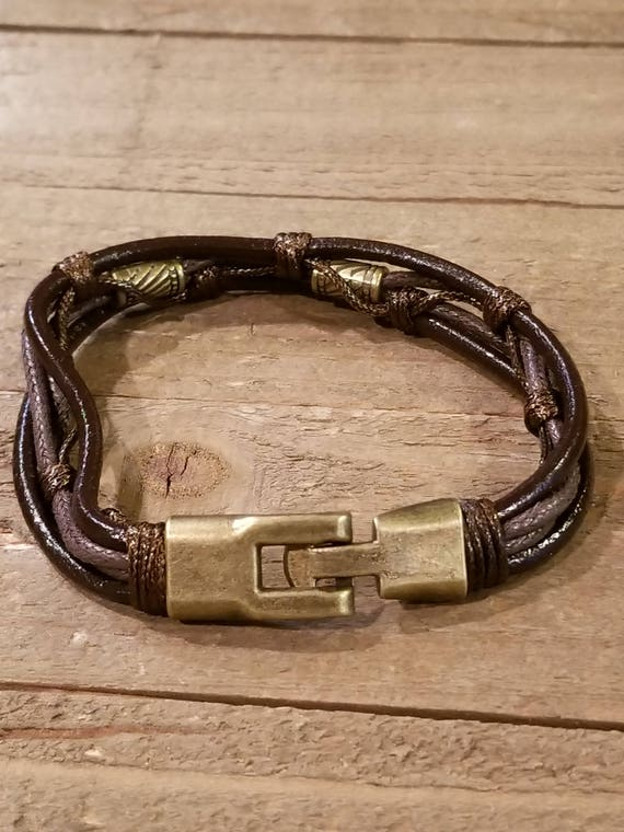 Brown Leather Weaved Bracelet With Twist Clip Native American Style Fashion Cuff Boho Hippie (B62)