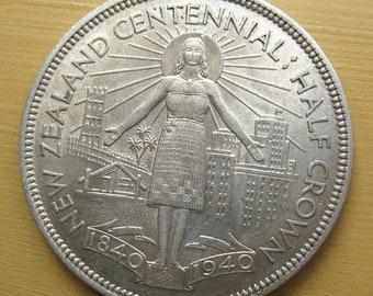 New Zealand Coin Half Crown 2/6 1940 KM14 N.Z. Centennial coin .50 silver