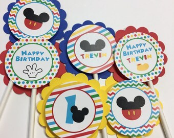 Mickey Cupcake Toppers, Mickey Mouse, Mickey Mouse Cupcake Toppers - Mickey Birthday Party, Boy Cupcake Toppers