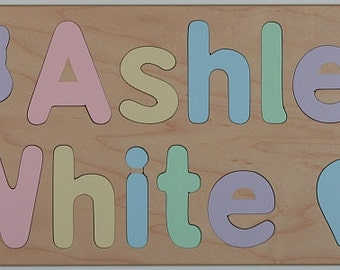 Wood Name Puzzle for Two Names, Kids Birthday Gift, Personalized, Educational Toy, Raised Letters, Mixed Case Letters