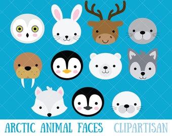 Arctic Animal Faces Clipart | Penguin | Seal | Polar Bear | Wolf
