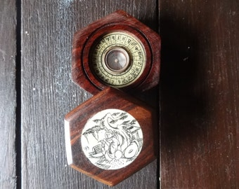 Vintage Chinese Wooden Cased Decorated Compass circa 1995 / English Shop