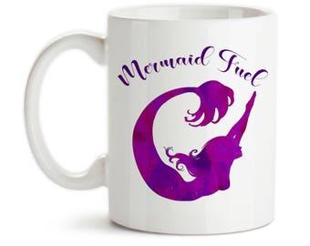 Coffee Mug, Mermaid Fuel, Mermaid Gift, Mermaid Mug, Mermaid Watercolor Art, Purple Mermaid, Mermaid Silhouette, Gift Idea, Large Coffee Cup